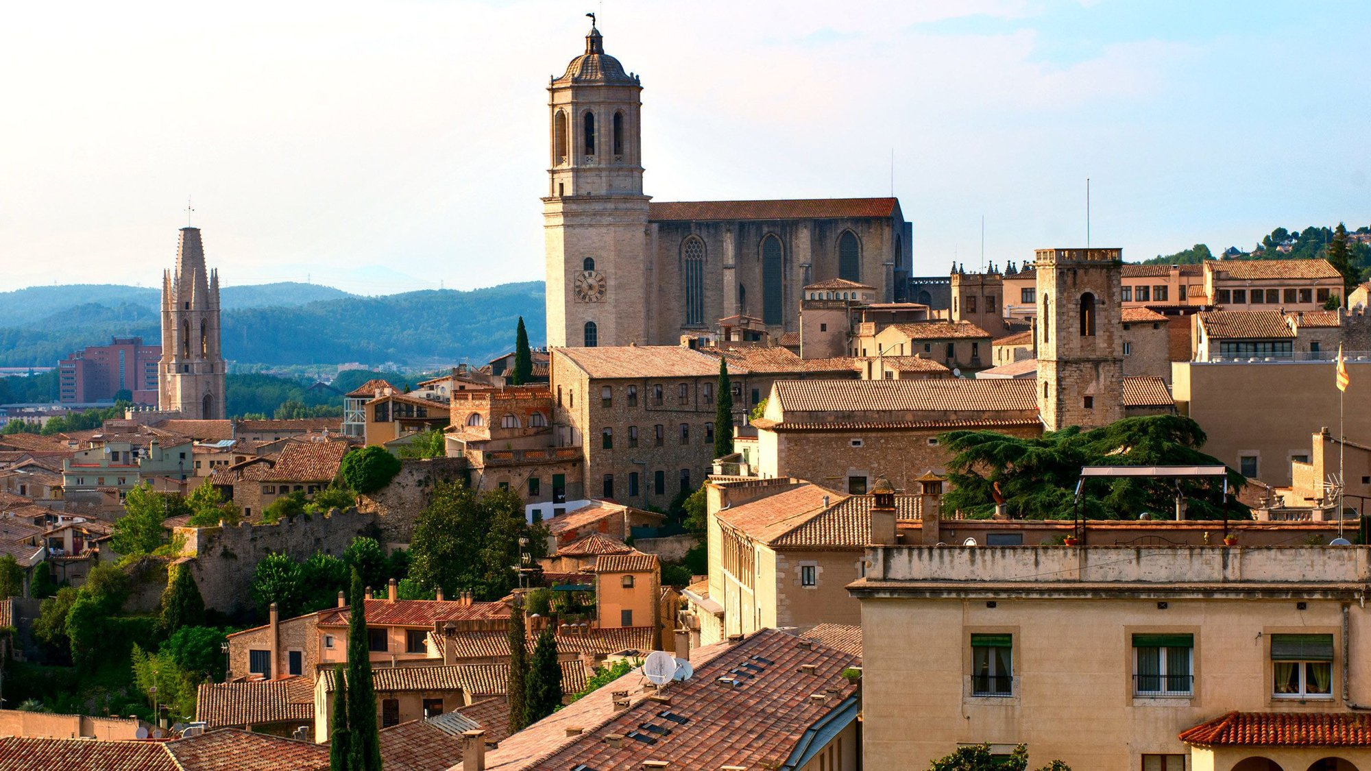 Red tile roofs of the town of Girona in Spain