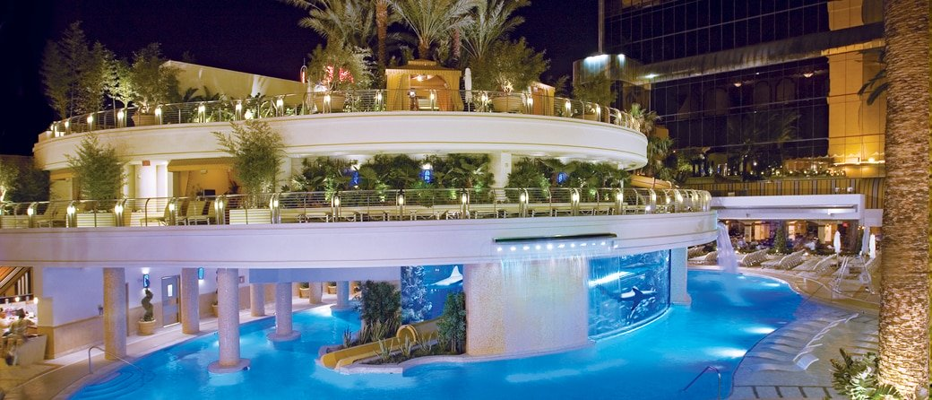 The swimming pool at Golden Nugget in Las Vegas