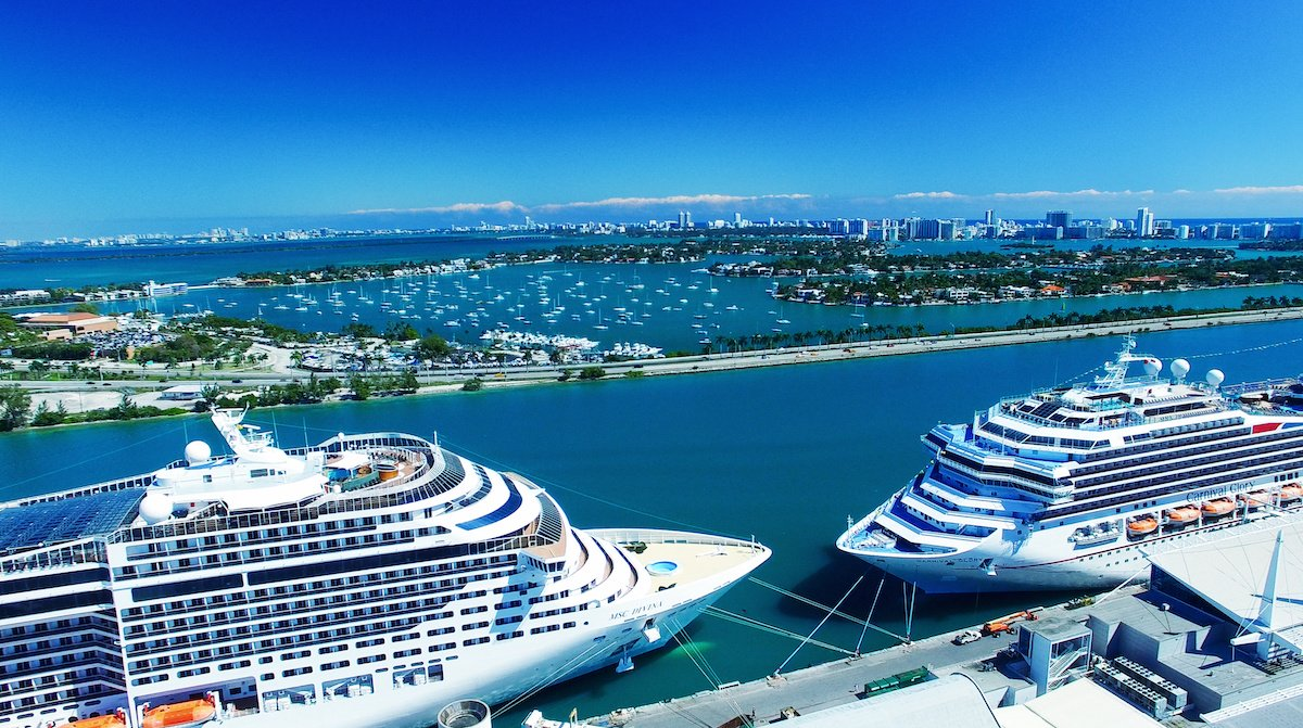 Aerial view of cruise ships docked at PortMiami