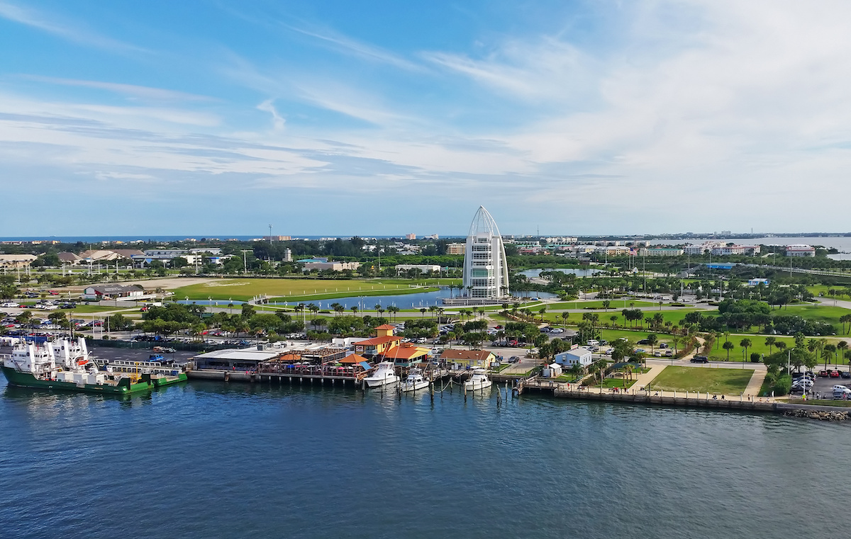 Aerial view of Port Canaveral, Florida