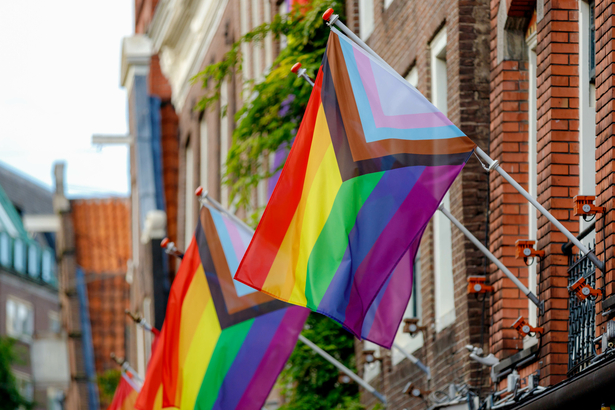 Progress Pride flags waving in the air from the side of a brick building